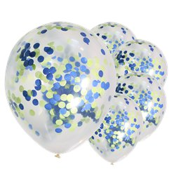 "Blue & Green Mix Confetti Balloons - 12"" Latex"