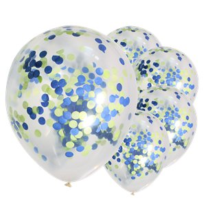 Blue & Green Mix Confetti Balloons - 12