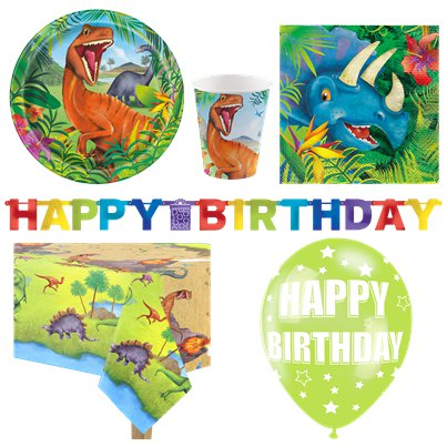Dinosaur Adventure Party Pack - Deluxe Pack For 8