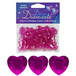 Cerise Pink Heart Table Diamantes