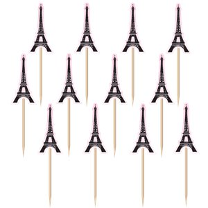 A Day in Paris Eiffel Tower Printed Paper Picks