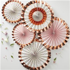 Ditsy Floral Rose Gold Foiled Floral Fan Decorations - 38cm
