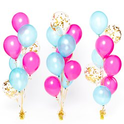 Pink & Turquoise Confetti Balloon Bouquets - 3 Bunches