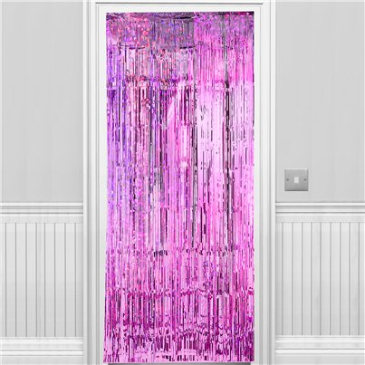 Holographic Pink Foil Curtain - 2.4m