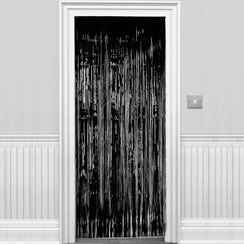 Black Metallic Fringed Door Curtain - 2.4m