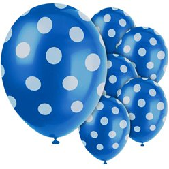 "Blue Decorative Polka Dots Balloons - 12"" Latex"