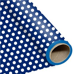 Blue Large Polka Dot Wrapping Paper -1.5m Roll