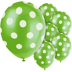 Green Decorative Polka Dots Balloons - 12