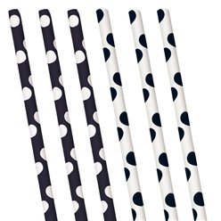 Black Polka Dot Paper Straws