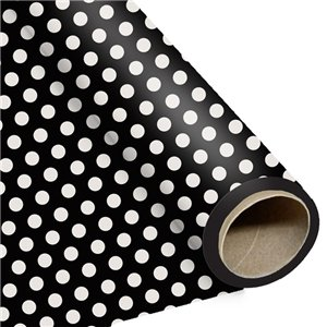Black Large Polka Dot Wrapping Paper - 1.5m Roll