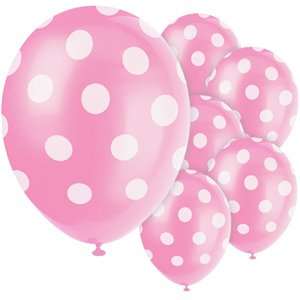 Pink Decorative Polka Dots Balloons - 12