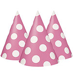 Pink Polka Dot Party Hats