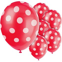 "Red Decorative Polka Dots Balloons - 12"" Latex"