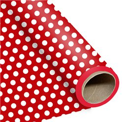 Red Large Polka Dot Wrapping Paper - 1.5m Roll