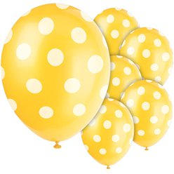 Yellow Decorative Polka Dots Balloons - 12