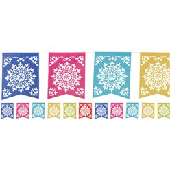 Patterned Multi Coloured Paper Bunting - 3.6m Mexican Decoration