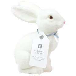 Truly Bunny Flocked White Bunny Decoration - 16cm