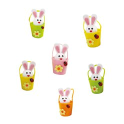 Mini Easter Bunnies in Baskets - 7.5cm