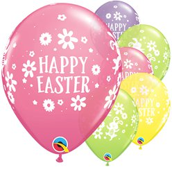"Easter Bunnies & Daisies Multicolour Balloons - 12"" Latex"