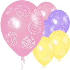 "Easter Egg Design Assorted Pastel Balloons - 12"" Latex"