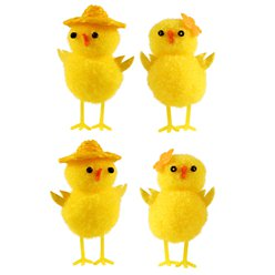 Easter Chicks with Hats & Flowers - 5cm