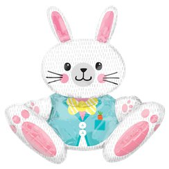 "Large Sitting Bunny Balloon - 32"" Foil Balloon"