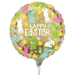 Happy Easter Gold Mini Airfill Balloon - 9