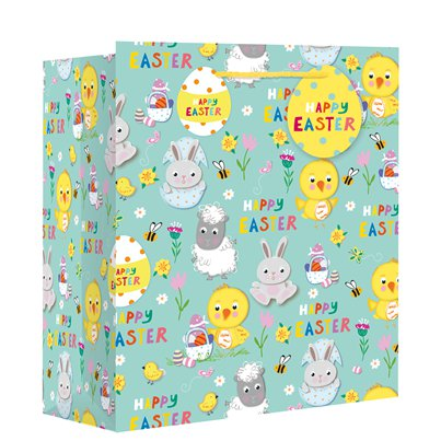 Large 'Easter Spring Animals' Gift Bag - 33cm