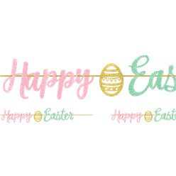 Happy Easter Glitter Ribbon Banner - 3.65m