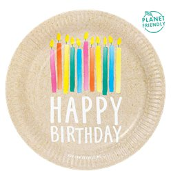 ECO-Birthday Recyclable Paper Plates - 23cm