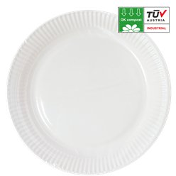 Compostable White Paper Plates - 23cm