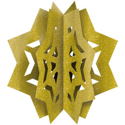 Eid 3D Wooden Glitter Star Decoration
