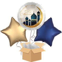 Eid Mubarak Shining Moon Balloon Bouquet - Delivered Inflated