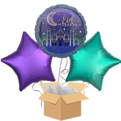Eid Mubarak Balloon Bouquet - Delivered Inflated