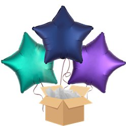 Eid Star Mix Blue Balloon Bouquet - Delivered Inflated