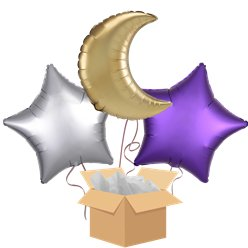 Eid Mubarak Moon & Stars Balloon Bouquet - Delivered Inflated