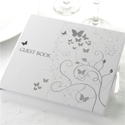 Elegant Butterflies Wedding Guest Book