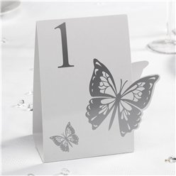 Elegant Butterfly - White/Silver Table Numbers