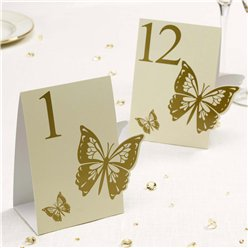 Elegant Butterfly - Ivory/Gold Table Numbers