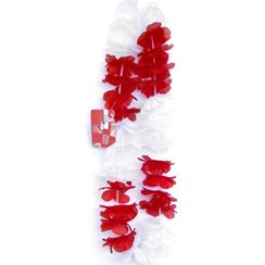 England Red and White Hawaiian Lei
