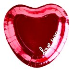 Everyday Love Hot Pink Foiled Heart Shaped Plates - 20cm