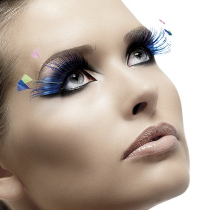 Blue & Neon Plume Eyelashes - Fancy Dress Costume Accessories front