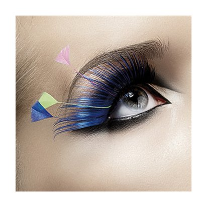 Blue & Neon Plume Eyelashes - Fancy Dress Costume Accessories pla