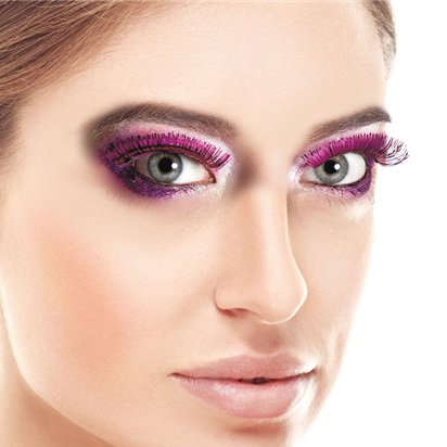 Pink Metallic Eyelashes - Fancy Dress Costume Accessories front