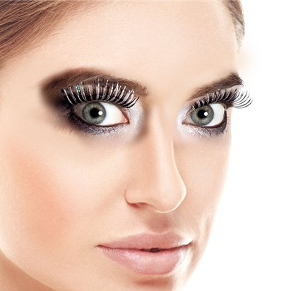 Black Holographic False Eyelashes - Fancy Dress Costume Accessories front
