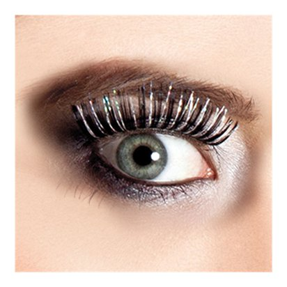 Black Holographic False Eyelashes - Fancy Dress Costume Accessories pla