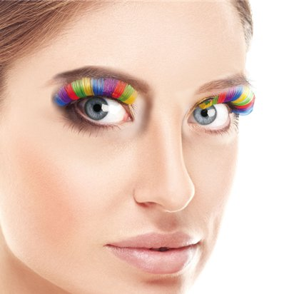 Rainbow False Eyelashes - Fancy Dress Costume Accessories front