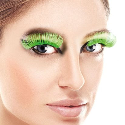 Green XL False Eyelashes - Fancy Dress Costume Accessories front