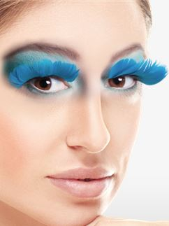 Turquoise Feather Eyelashes