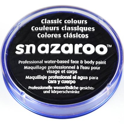 Black Snazaroo Face Paint - 18ml Pot - Halloween Face Paint front